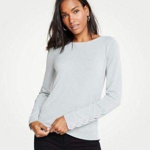 Ann Taylor Gray Scalloped Button Cuff Sweater